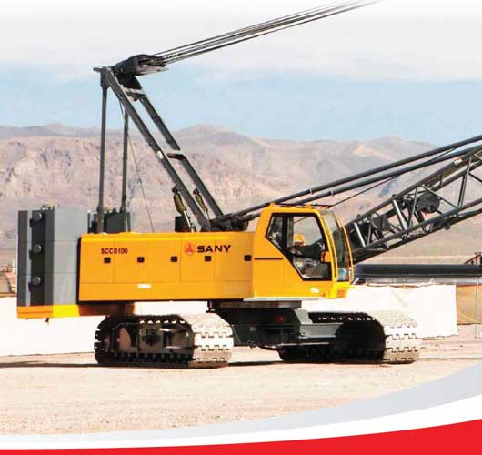Up close view of a yellow Sany SCC8100 crane provided by ATX Cranes.
